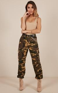 Bangin Pants In Green Camo Print