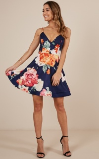 Love Shack dress in navy floral