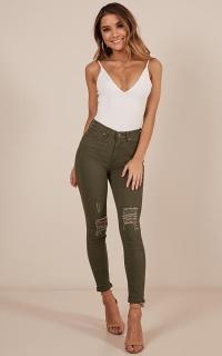 Anna Skinny Jeans In Khaki
