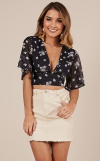 Live Sweetly Top In Navy Floral