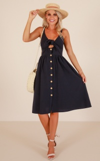 Cascading Petal dress in navy