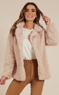Down The Runway Coat In Beige Teddy