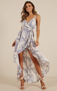 Stars In The Sky Maxi Dress In Blue Floral