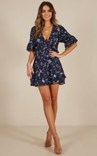 Sweet Honey dress in navy floral