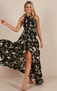 Run Alone Maxi Dress In Black Rose Floral