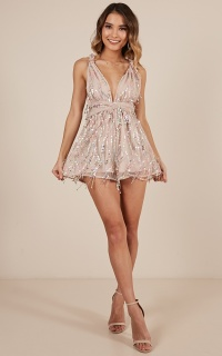 The Swing Of It Playsuit In Multi Sequin