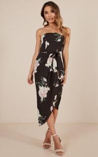 State of Mind Dress in black floral