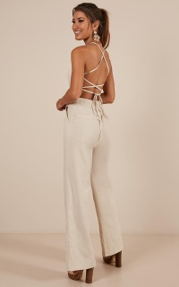 Make Me Yours Jumpsuit In Natural Linen Look