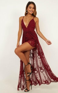 Citrus Maxi Playsuit In Wine Lace