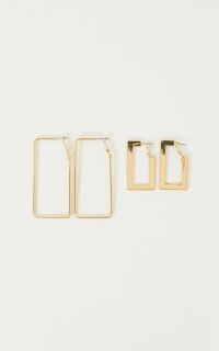 King And Queen Earrings 2 Pack In Gold