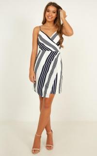 Wide Vision Dress In White Stripe