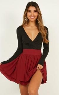 Heart Ache Skirt In Wine