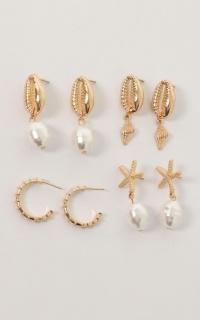 Things You Said Earrings 4 pack In Gold