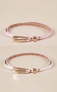All On My Mind belt multipack in white and pink