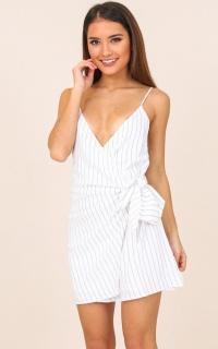 Entertain Me dress in white stripe