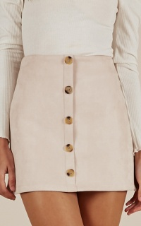 Confide In Me skirt in blush suedette