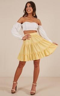 Faded Love Skirt In Lemon Linen Look