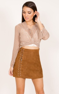 I Think They Like Me Skirt In Tan Suedette
