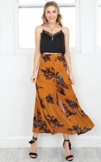 Kisses Dont Lie maxi skirt in mustard floral