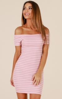 Art Of You dress in blush stripe