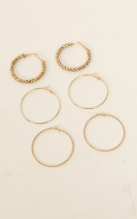 Be My Baby Hoop Earrings 3 Pack In Gold