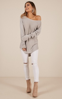 Be My Girl Knit Top In Grey Marle