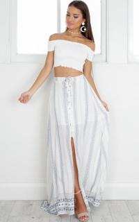 Boathouse maxi skirt in white print