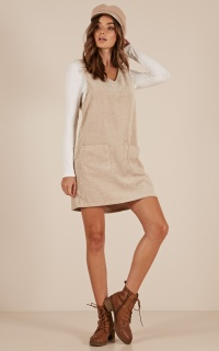 Butterfly Effect Dress In Beige Corduroy