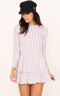 Candles At Sunset dress in white stripe