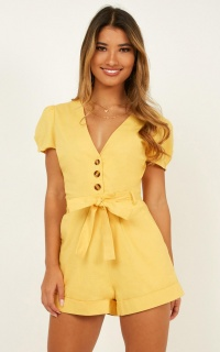 Caught In The Act Playsuit In Mustard