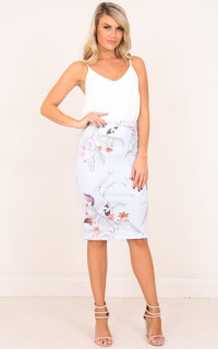 Claim It Back Skirt In  Blue Floral