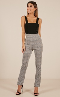 Coffee Time Pants In Grey Check