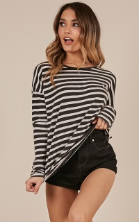 Sweet Afternoon top in black stripe