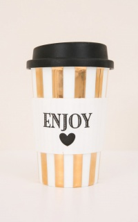 Enjoy ceramic travel mug in gold stripe