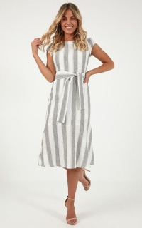Every Time We Dance Dress In Grey Stripe Linen Look