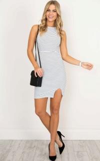 Feel Alright dress in white stripe