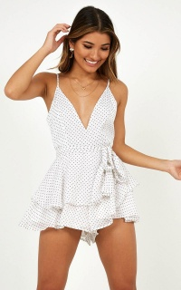 Fighting Chance Playsuit In White Polka Dot