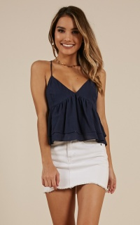 Foldline top in navy