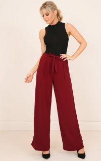Girl On Top Pants in Wine