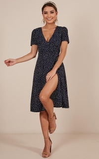 Great Insight Dress In Navy Spot