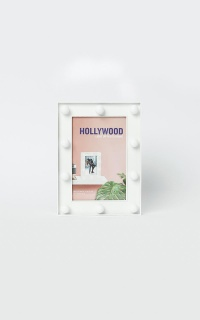 Hollywood Lights Photo Frame In White