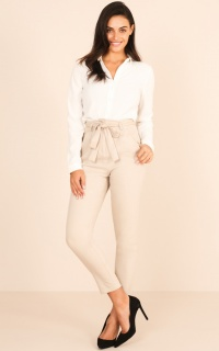 Influence Pants in  Beige linen look