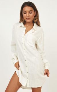 Island Solitude Dress In White Linen Look