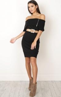 Killer Combo Knit Dress in black