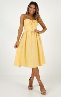 Keep You Happy Dress In Lemon Linen Look