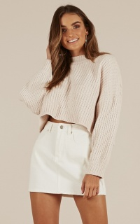 Little Do You Know knit sweater in cream chenille