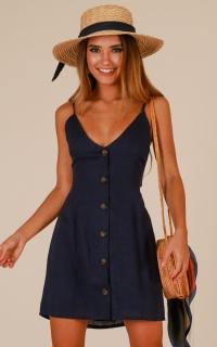 Little Mischievous dress in navy linen look