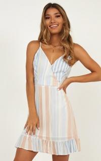 Lonely Lady Dress In Multi Stripe