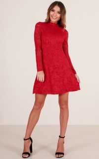 Love Shines dress in red lace