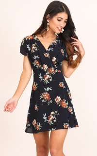 Lovely Light Dress In Navy Floral